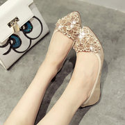 Egg Roll Flat Shoes Shallow Mouth Pointed Toe Shoes With Bead Decoration