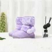 Mädchen Wildleder Pelz Ball Dekor warm gefüttert schöne Schneestiefel