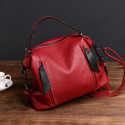 Women Solid Retro Soft PU Leather Crossbody Bag Large Capacity Leisure Handbag