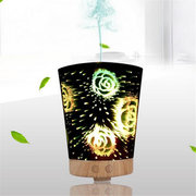 DecBest Ultrasonic Cool Air Mist Humidifier 3D Glass Night Lights Aromatherapy Diffuser Home Decor