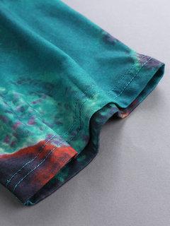 Tie Dye Свободная туника с коротким рукавом с круглым вырезом Шея Mini Платье