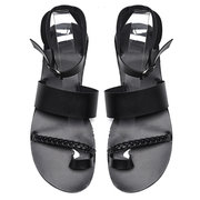 Big Size Women Summer Roman Black Clip Toe Buckle Strap Flat Sandals