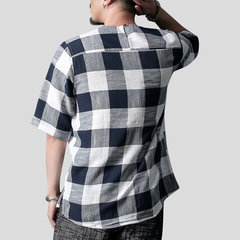 Mens Cotton Breathable Plaid Printed T-Shirts Vintage Solid Color Loose O-neck Casual Tops