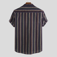 Mens Casual Daily Wild Striped Stand Collar Short Sleeve Henley Shirt