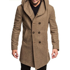 Men Winter Thicken Warm Slim Mid Long Coat Hooded Solid Color Long Sleeve Trench Coat