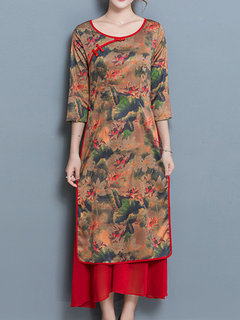 Chinese Style Floral Printed 3/4 Sleeve Fake Two Pieces Dresses