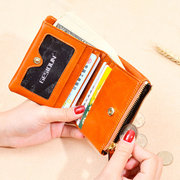Women Vintage Genuine Leather Small Short Wallet Card Holder Purse