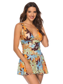 Plus Size Print V Neck Slimming Backless Swimdresses For Women