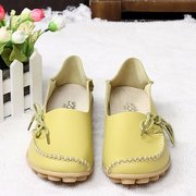 Big Size Leather Pure Color Soft Sole Breathable Casual Lace Up Flat Shoes For Women