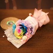 Rainbow Rose Night Light Valentine's Day Gift Romantic Decoration Light Dried Flower Eternal Flower