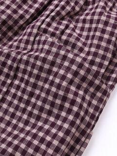 خمر منقوشة السراويل مرونة الخصر مع جيوب