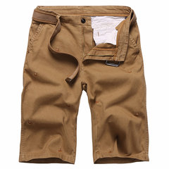 Mens Cotton Breathable Stickerei Knie Länge Casual Shorts