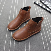 Stitching Slip On Flat Ankle Short Boots