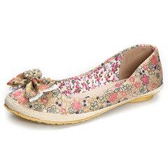 Большой размер кружева цветочные бабочка узел печати на обувь
