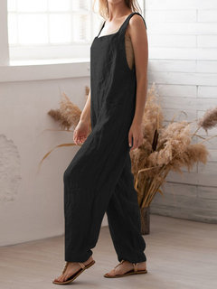 Women Casual Square Neck Long Pants Casual Bib Cargo Dungaree Jumpsuit