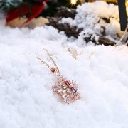 INALIS Christmas Gift Platinum Rose Gold Colorful Zirconia Snowflake Pendant Necklace for Women