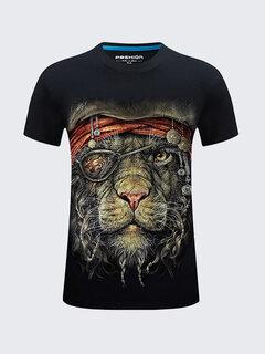 T-Shirt mit 3D-Löwe