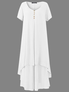 Vintage Fake Two-Piece Solid Color Short Sleeve Maxi Dress