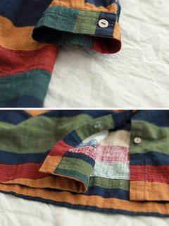Multi-color Stripe Long Sleeve Irregular Vintage Blouse