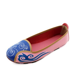 Cloud Leather Pattern National Wind Color Match Soft Sole Slip On Flat Casual Shoes