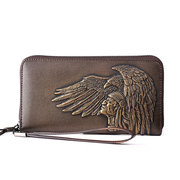 Men Genuine Leather Embossing Personalized Wallet Card Holder Phone Bag