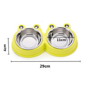 3 Colors Pets Cartoon Frog Style Food Water Bowl Dog Cat Stainless Steel Non Slip Feeding Dish