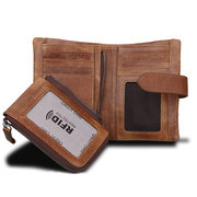 RFID 10 Card Holders Vintage Genuine Leather Coin Bag Casual Wallet For Men