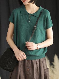 Сплошной цвет лацкан с коротким рукавом повседневная футболка для Женское