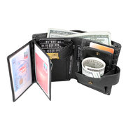 RFID Genuine Leather Retro Tri-fold 16 Card Slot Wallet Casual Coin Bags For Men