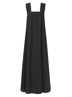 Casual Solid Color Straps Elastic Loose Plus Size Maxi Dress