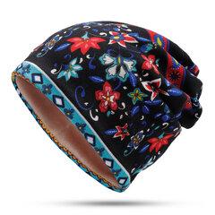 Damen Flower Beanie Hut Outdoorreitenski Plus Warmmütze aus Kaschmir Hut Schal mit Multifunktion