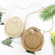 Women Round Woven Crossbody Bag Straw Beach Bag