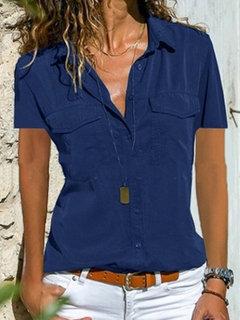 كم قصير الصلبة اللون قميص عارضة التلبيب للنساء