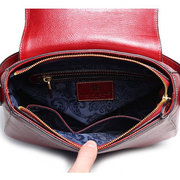 Women Causal Flower Print Cover Cowhide Leather Crossbody Bag