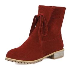 Suede Lace Up Ankle Mid Heel Casual Boots