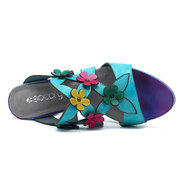 SOCOFY Floral Handmade Hollow Out Colorful Square Heel Leather Sandals