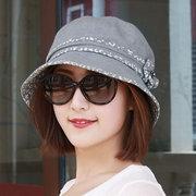 Mujer Flor plegable Vogue Short Brim Sun Sombrero Summer al aire libre Travel Playa Sea Bucket Cap