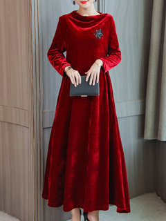Velvet Solid Color Pile Collar Long Sleeve Vintage Maxi Dress