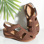 LOSTISY Stitching Hollow Hook Loop Closed Toe Light Wedges Sandals