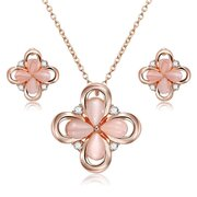 Vintage Jewelry Sets Crystal Four-leaf Clover Rhinestone Necklace  Earrings Elegant Jewerlry for Her