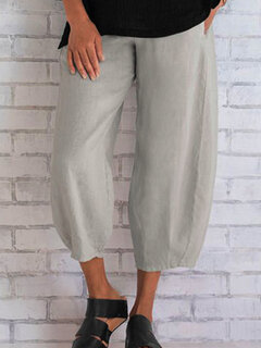 Loose Casual Solid Color Pants For Women