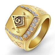 العصرية الذهب ساحة التيتانيوم الصلب الدائري حجر الراين الحرة ميسون شعار الشرير مجوهرات خواتم للرجال