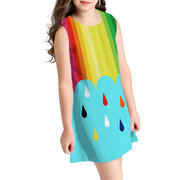 Fruit Print Strapless Shoulder Woven Dresses For 10-15Y