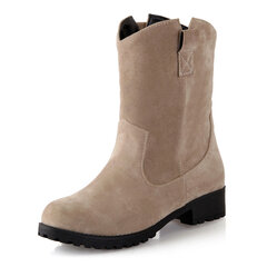 Women Casual Warm Plush Lined Suede Solid Color Boots