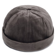 Mens Adjustable Solid Velvet French Bucket Cap Retro Vogue Crimping Brimless Hats