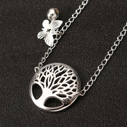 YUEYIN Fashion Silver Plated Tree of Life Butterfly Bell Charm Tobice para mulheres