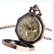 Octagon Shape Red Copper Roman Numerals Dial Mechanical Watch Pocket Watch