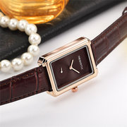 Square Dial Women Wrist Watch Elegant Design Leather Band Quartz Watches