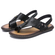 Men Microfiber Leather Clip Toe Non-slip Slippers Casual Beach Sandals