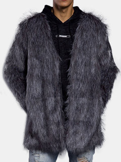 Mens Mid-Length Faux Fur Coat Winter Thickened Warm Slim Fit Fashion Casual Fur Jacket